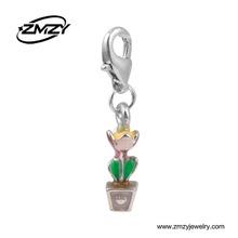 Fashion Design Cute Enamel Potted Plant Charms Pendant, Custom Metal Thomas Pendant Jewelry Accessories
