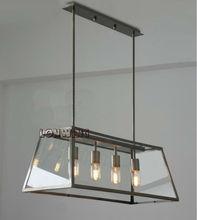 Loft Pendant Lamp Edison Bulb Glass Box Droplight RH Filament Chandelier