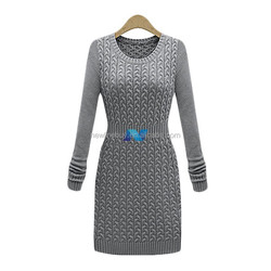Winter Autumn Retro Casual Women Dress Long Sleeve Solid Knitted Warm Sexy Party Dresses