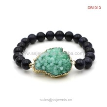 China wholesale druzy stone elastic bracelet with blue glidstone beads