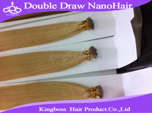 New arrival virgin remy brazilian hair double drawn stick tip nano ring hair extensions