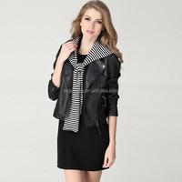 Women High Quality Fashion Black Style Europe lapel PU leather Jacket