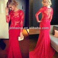 2014 Red Prom Long Sleeves Chiffon Lace Sheer Sexy Party Dresses Hollow Mermaid Evening Dress Plus Size
