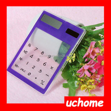 UCHOME Solar touch screen transparent calculator Promotional Gifts 8 digits pocket acrylic calculator