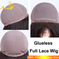 10 Inch Yaki Indian Remy Full Lace Wig 7A Unprocessed Indian Kinky Straight Full Lace Wig Cheap Gluless Indian Full Lace Wig