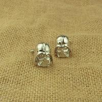 Free shipping Silver Darth Vader Mask Helmet Sith Star Wars Cuff Links Cufflinks For Mens CL--26