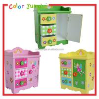Kids mini wood storage box with 3 drawers,toy wood Storage drawers cabinet girls room decoration
