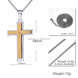 Hot Sale Men Necklacer Stainless Steel Cross Pendant Jewelry China Wholesale