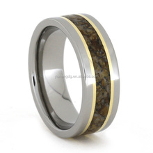 Titanium Ring with Multicolored Dinosaur Bone and 18k Yellow Gold Rings