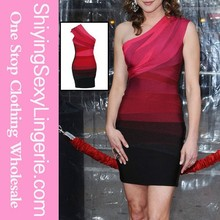 Red Sexy One shoulder sexy party bandage dresses womens dresses bandage dresses 90% rayon