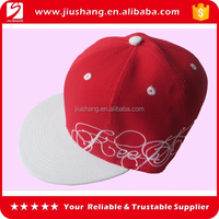 Red color 100%cotton 6 panel flat top embroidery custom snapback hat