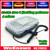 DC12V-24V 36 LED 36W Magnets Emergency Strobe Light bar Amber/Blue, 8 Flash way LED warning Light