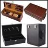 1 bottle,2 bottle,6 bottle stock Pu leather cover wood wine case wholesale