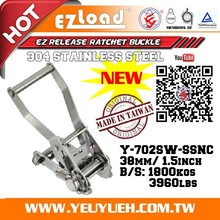 [EZ LOAD] 38mm 304 Stainless Steel Ratchet Belt Buckle Restraint System
