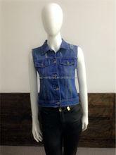 Womens distressed slim fit indigo/ black Denim Vest/ ladies stretchy denim vest womens fashion cotton spandex denim vest