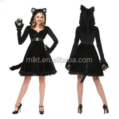 2017 Cosplay sexy CAT negro falda para la fiesta de Halloween
