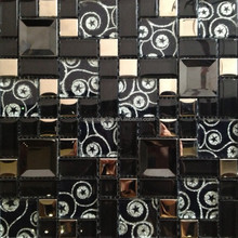 black and gold pattern glass mix stainless steel mosaic tile for wall art