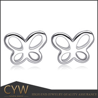 CYW Hot Sale butterfly designs statement 925 sterling silver Stud earrings for children's present
