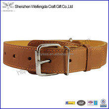 High Quality Factory Wholesale Brown Genuine Leather Collar for Dogs