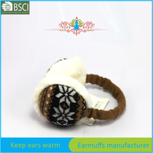 Snowflake knitted headband earmuffs