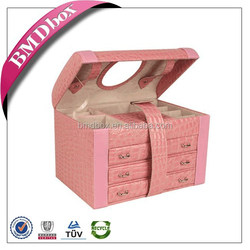 Stylish and fashion style top quality custom wholesale leather multi-drawer jewelry box for ladies
