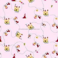 Decorative wallpaper for childrens' room with castle pattern