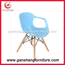 PP/ABS plastic chair with wood legs dining chair general use