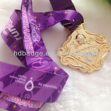 Customized sport swimming metal medalloin ,Enamel zinc alloy shiny gold medal with ribbon