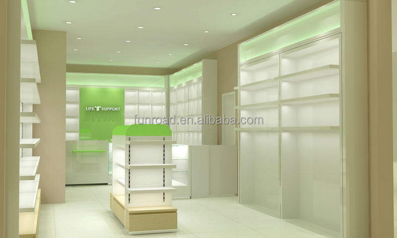 Modern And Unique Pharmacy Interior Store Showcase With
