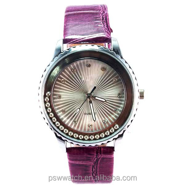 pearl beads stones Japan quartz custom leather watch ladies