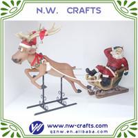 Santa with reindeer wholesale custom resin Christmas craft