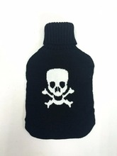 2015 new design embroidery rock and roll skeleton knitted hot water bottle cover