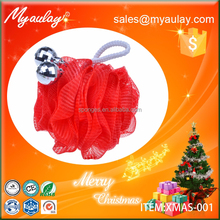 2015 Hot sale red christmas bath pouf XMAS-001,christmas ball Event & Party Supplies