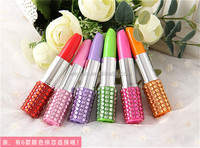 160pcs Rhinestone Sexy Lipstick Shape Office Stationery Ballpoint Ball Pen DHL Freeshipping