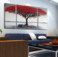 modern red tree oil painting on canvas