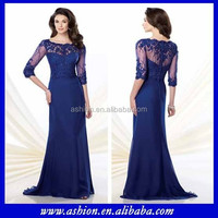 ME-079 Elegant 3/4 sleeves royal blue mother of the bride dresses illusion mother of the bride tropical dresses