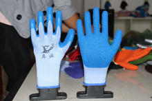 21yarn knitted latex rubber palm coated safety work gloves working gloves China wholesale