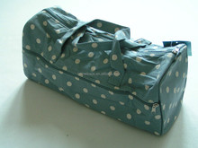 Knitting storage bag blue with white dots