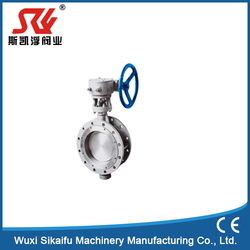 china supplier gear operation double flange metal seated butterfly valve