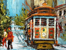 Professional Manufacturer High Quality Assured Hand Painted Cable Car Oil Painting on Canvas for Wall Decoration