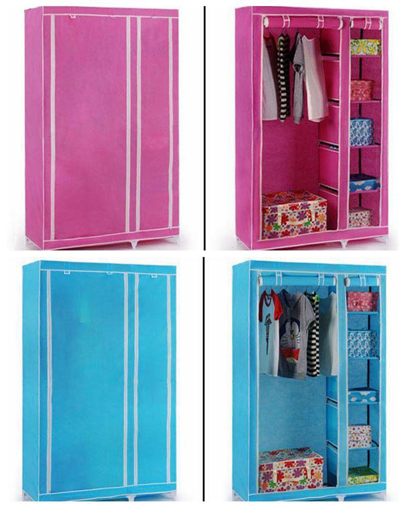 Aparador Ou Buffet ~ Prateleira armazenamento de roupas portátil fácil montado armário de plástico com zíper Outros