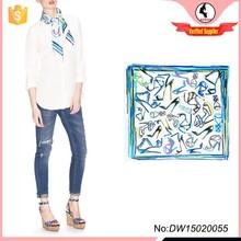 New fashion design shoe print 100 twill silk scarf