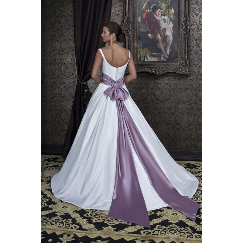 Beaded Wedding Dress with Purple Accent Wedding Dress