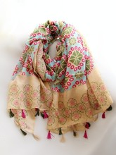 C84343A Fringed cotton voile Scarf female air conditioning shawl scarf