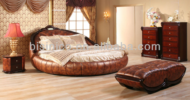 Golden Leather Bed : ... Golden Genuine Leather Round Bed, Luxury Leather Round King Size Bed