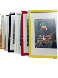 Cheap yellow red black white silver gold colorful PVC plastic photo picture frame in all sizes with glass and MDF