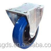 125mm European style Blue ER fixed caster Elastic rubber castor wheel,industrial caster