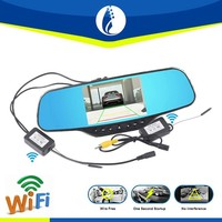 Wireless 5inch WiFI car dvr dash camera rearview mirror