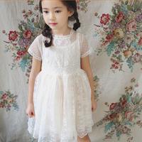 HJL-K1030 Korean children clothing 2015 Summer new fashion girls sweet short sleeve tulle dress