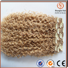 Blond malaysian human hair afro kinky curly clip in hair extensions